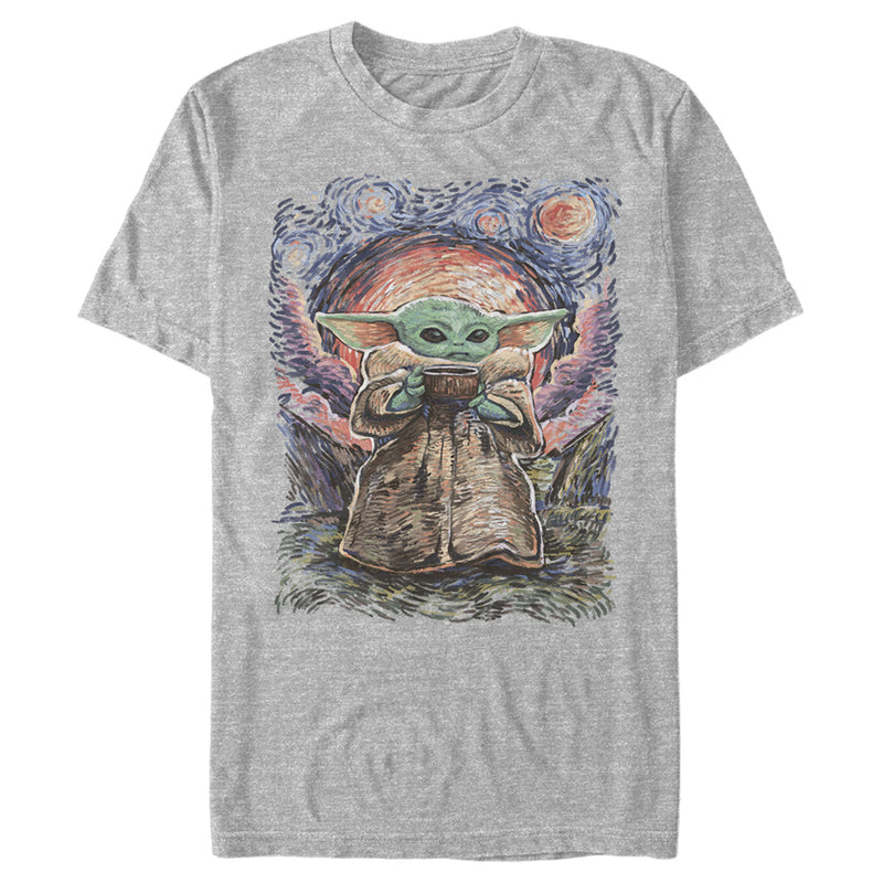 Star Wars The Mandalorian Men's The Child Starry Night  T-Shirt  Athletic Heather  2XL