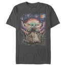 Star Wars The Mandalorian Men's The Child Starry Night  T-Shirt  Charcoal  3XL
