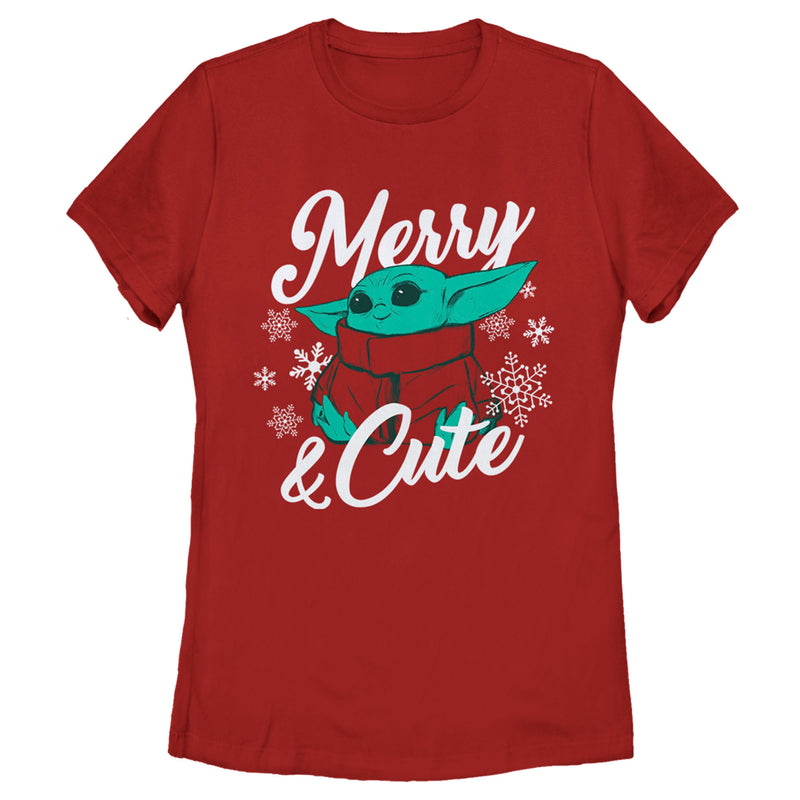 Star Wars The Mandalorian Women's Christmas The Child Merry and Cute  T-Shirt  Red  2XL