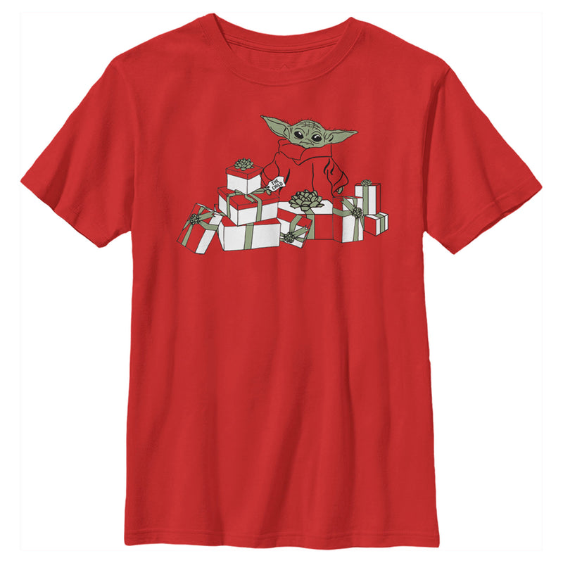 Star Wars The Mandalorian Boy's Christmas The Child Gifts Galore  T Shirt