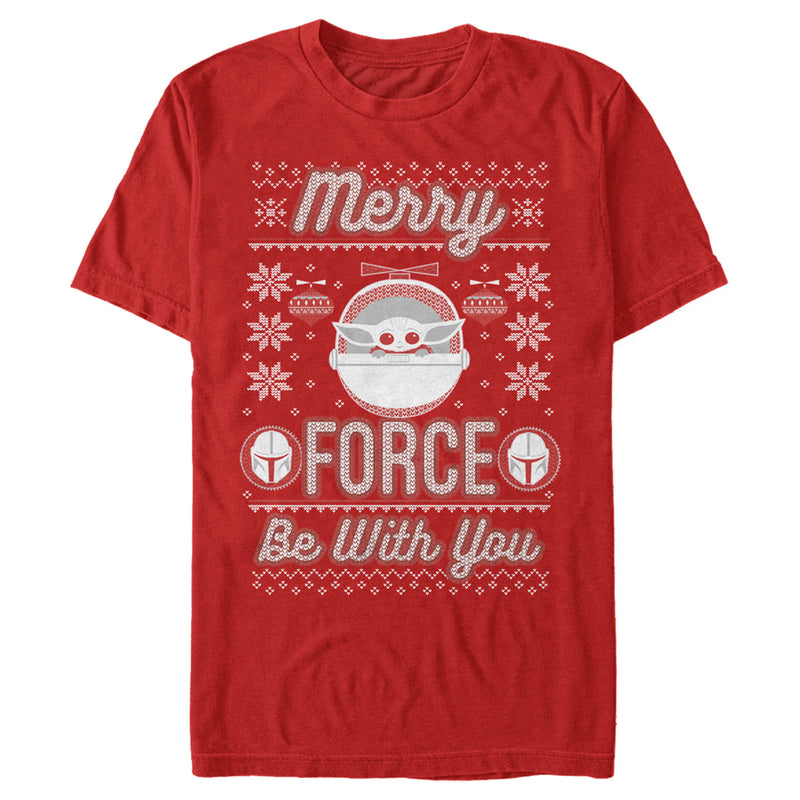 Star Wars The Mandalorian Men's Christmas The Child Ugly Space Pod  T-Shirt  Red  M