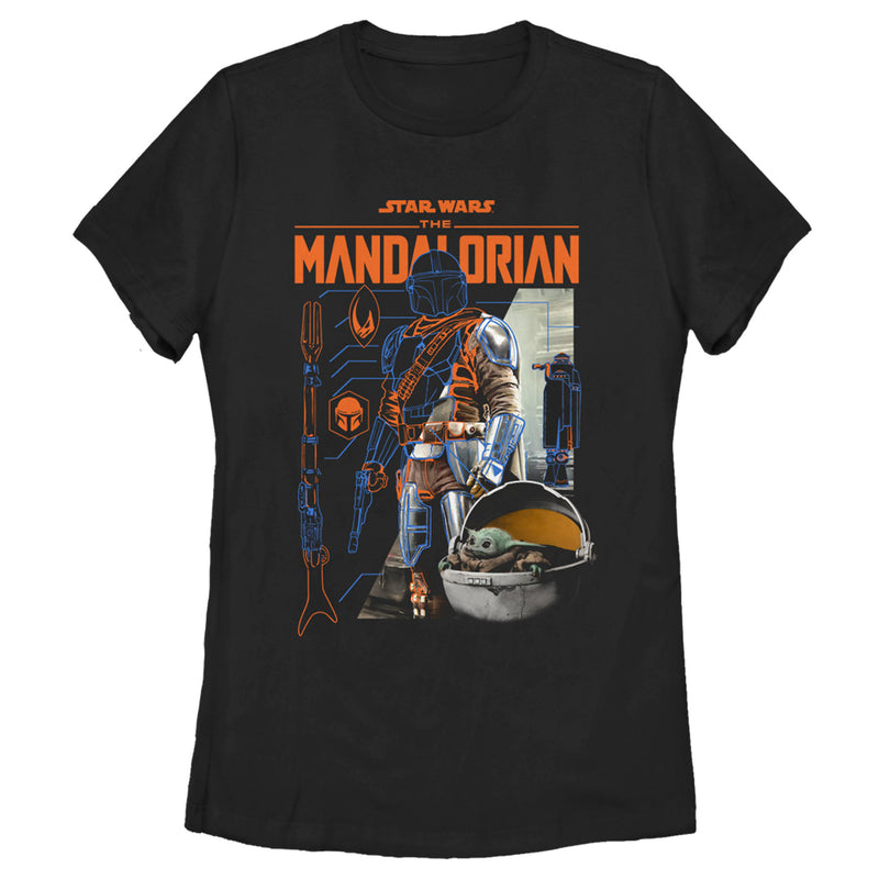 Star Wars The Mandalorian Women's Din Djarin Schematics  T-Shirt