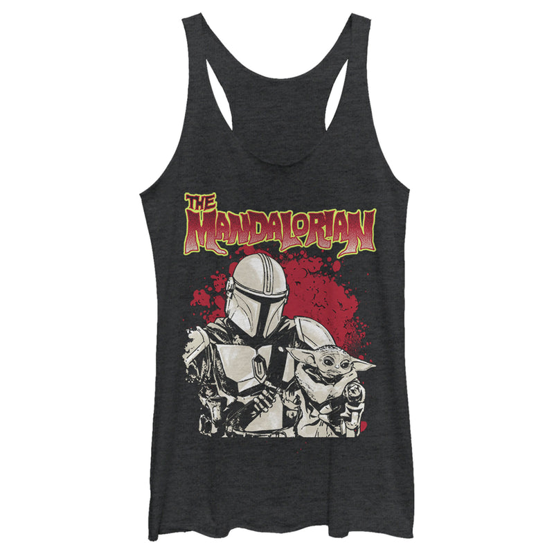 Star Wars The Mandalorian Women's Strong Attachment  Racerback Tank Top  Black Heather  M