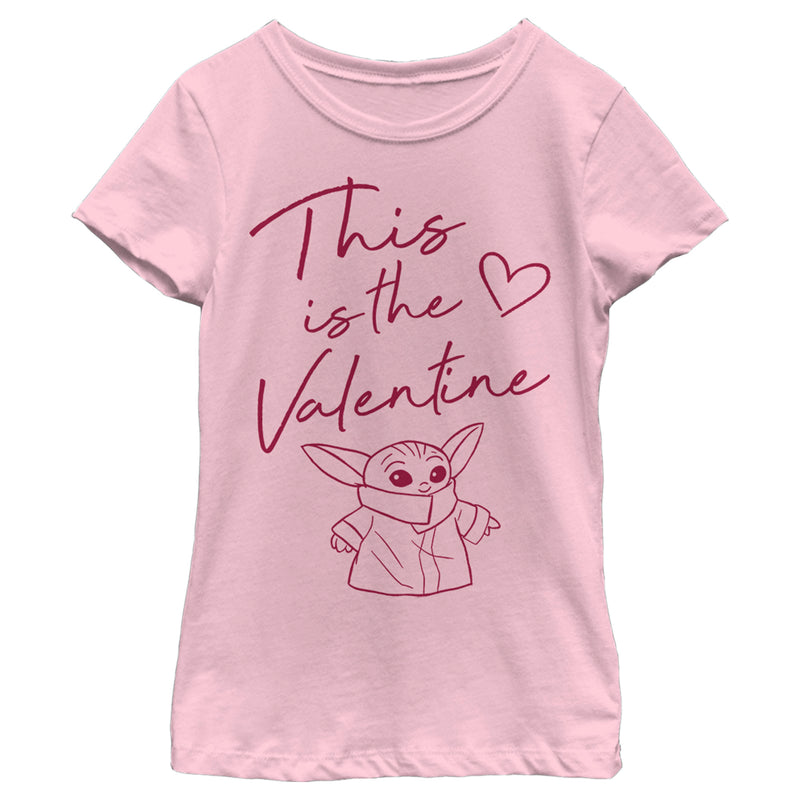 Star Wars The Mandalorian Girl's Valentine's Day The Child Valentine Way  T-Shirt  Light Pink  L