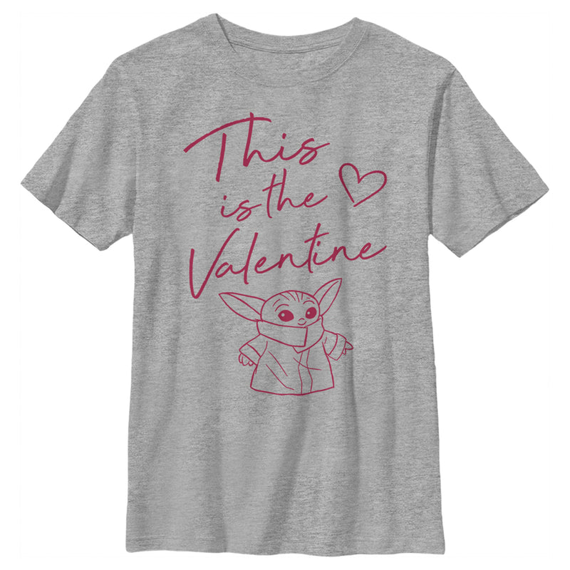 Star Wars The Mandalorian Boy's Valentine's Day The Child Valentine Way  T-Shirt  Athletic Heather  YL