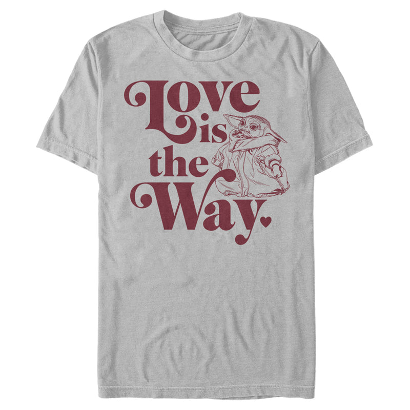 Star Wars The Mandalorian Men's Valentine's Day The Child Love is the Way  T-Shirt  Silver  2XL