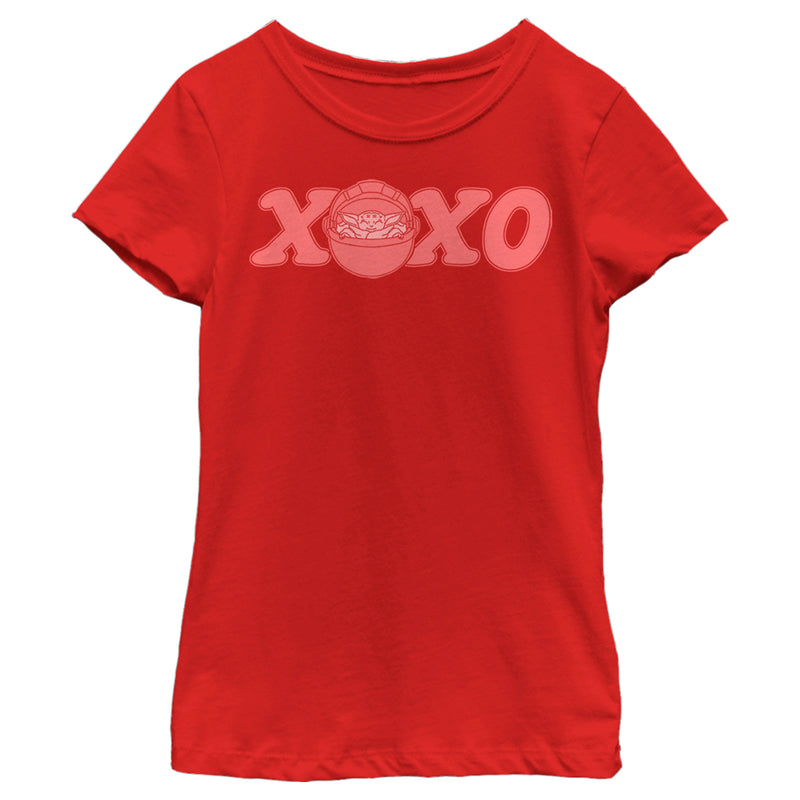 Star Wars The Mandalorian Girl's Valentine's Day The Child XOXO Bassinet  T-Shirt  Red  L