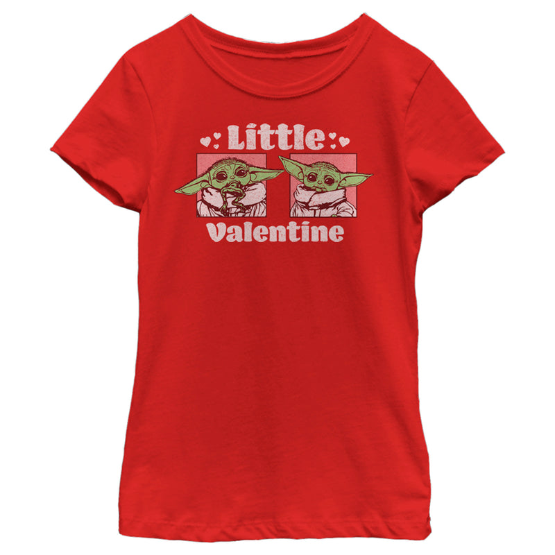 Star Wars The Mandalorian Girl's Valentine's Day The Child Little Valentine Panels  T-Shirt  Red  M