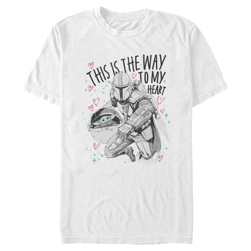 Star Wars The Mandalorian Men's Valentine's Day The Child Way to my Heart  T-Shirt  White  3XL