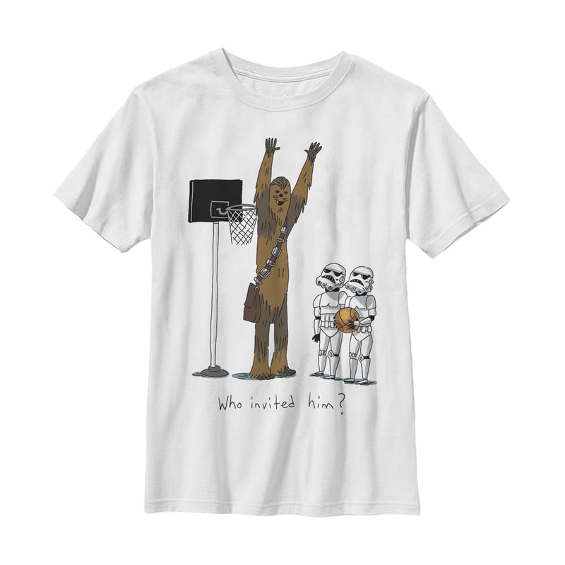 Star Wars Boy's Chewbacca Basketball Who Invited Him  T-Shirt  White  M