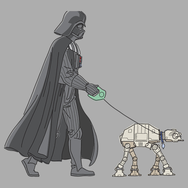 Star Wars Boy's Darth Vader AT-AT Walking the Dog  T-Shirt