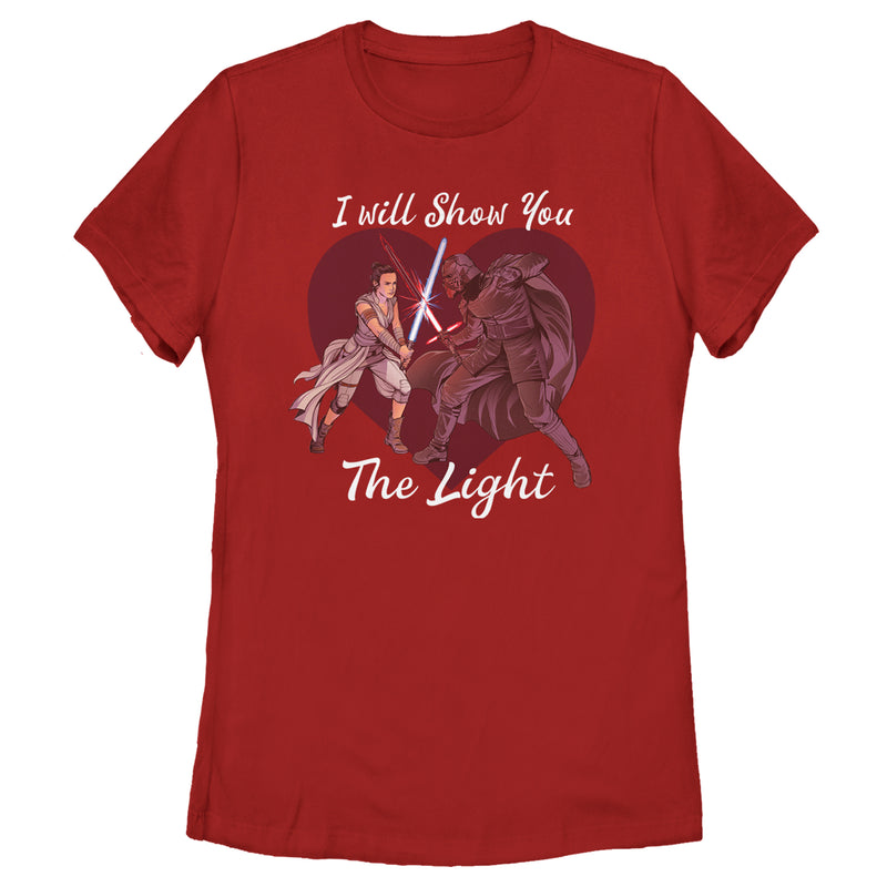 Star Wars: The Rise of Skywalker Women's Kylo Ren and Rey I Will Show You the Light  T-Shirt  Red  L