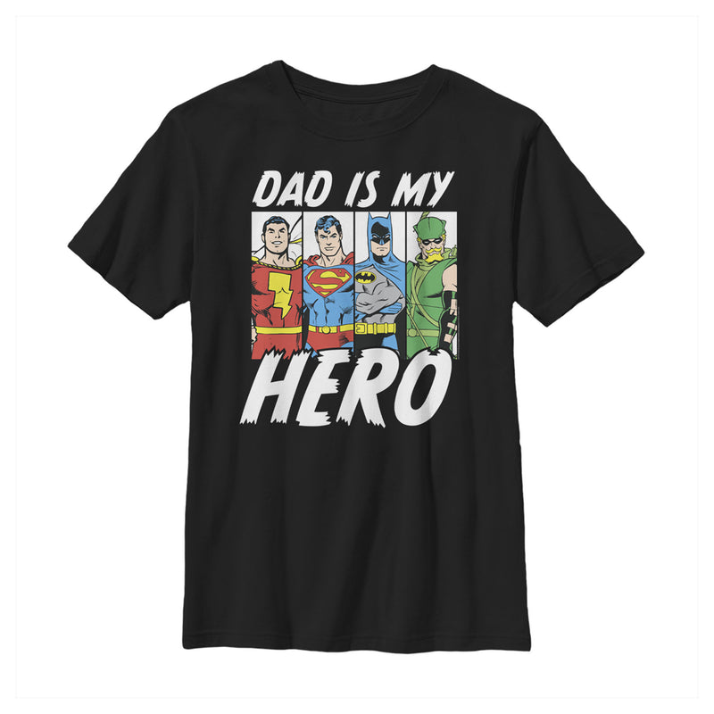 Justice League Boy's Father's Day Dad is Hero  T-Shirt  Black  S