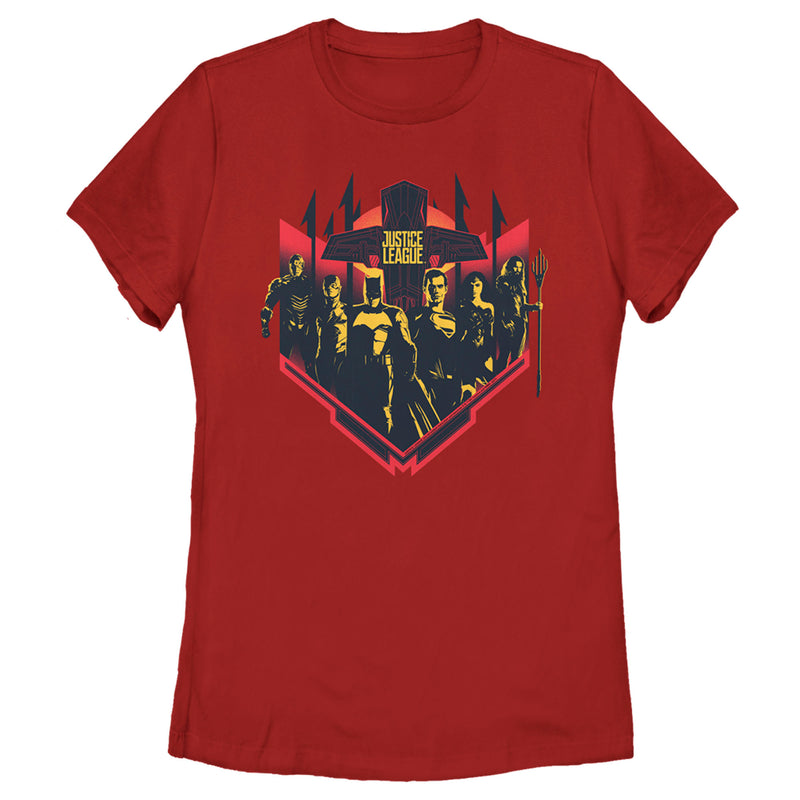 Zack Snyder Justice League Women's Group Shot  T-Shirt  Red  2XL