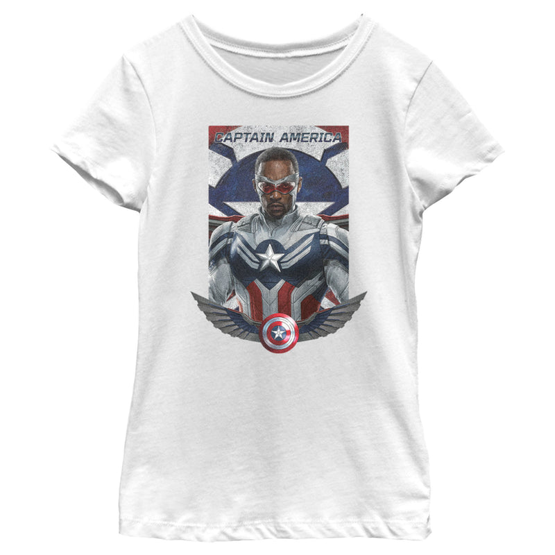 Marvel Girl's The Falcon and the Winter Soldier Captain America Shield Wings  T-Shirt  White  XL
