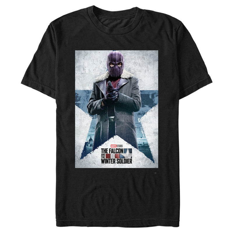 Marvel Men's The Falcon and the Winter Soldier Baron Zemo Poster  T-Shirt  Black  XL