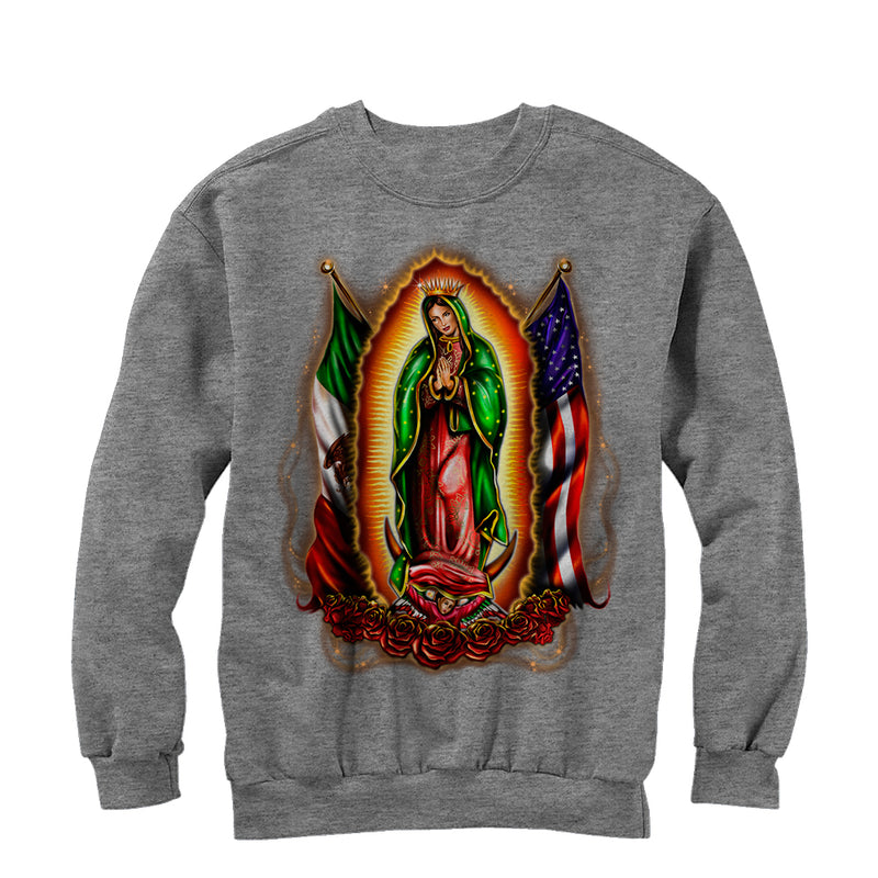 Aztlan Men's Our Lady of Guadalupe  Sweatshirt  Athletic Heather  XL