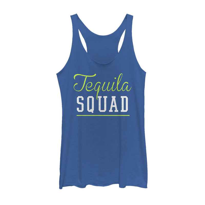 CHIN UP Women's Tequila Squad  Racerback Tank Top  Royal Blue Heather