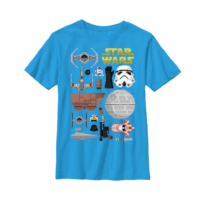 Star Wars Boy's Pixelated Elements  T-Shirt  Turquoise  XL