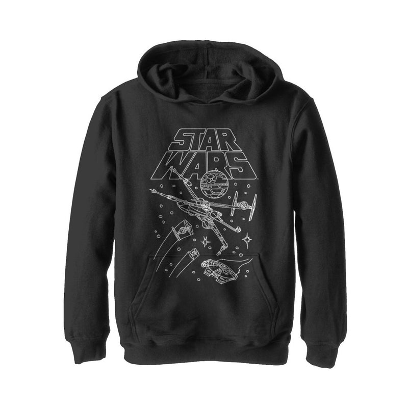 Star Wars Boy's Star Ship Meeting  Pull Over Hoodie  Black  XL