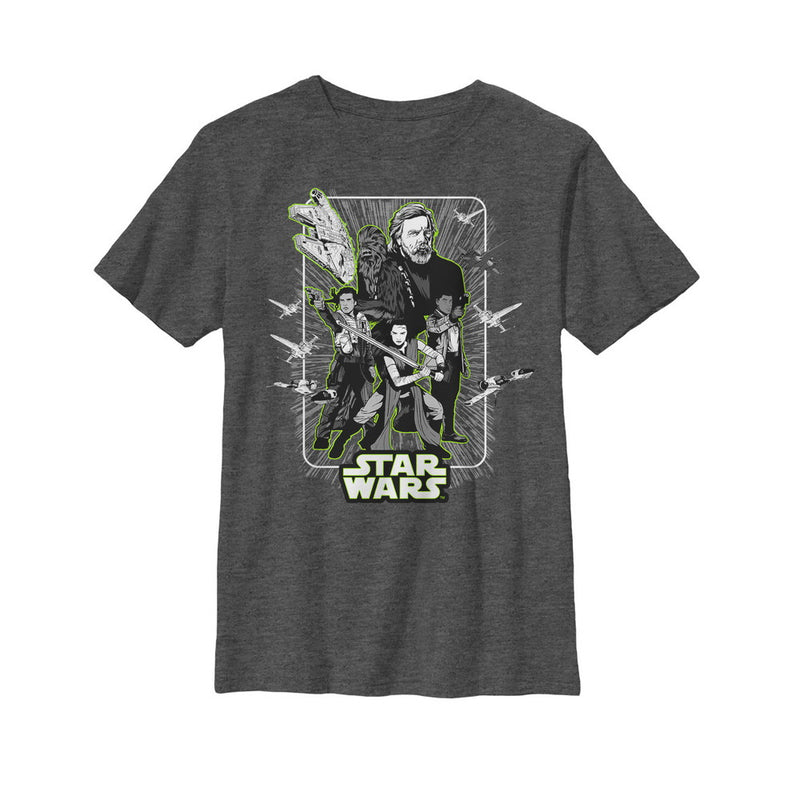 Star Wars The Last Jedi Boy's Rebel Frame  T-Shirt  Charcoal Heather  S