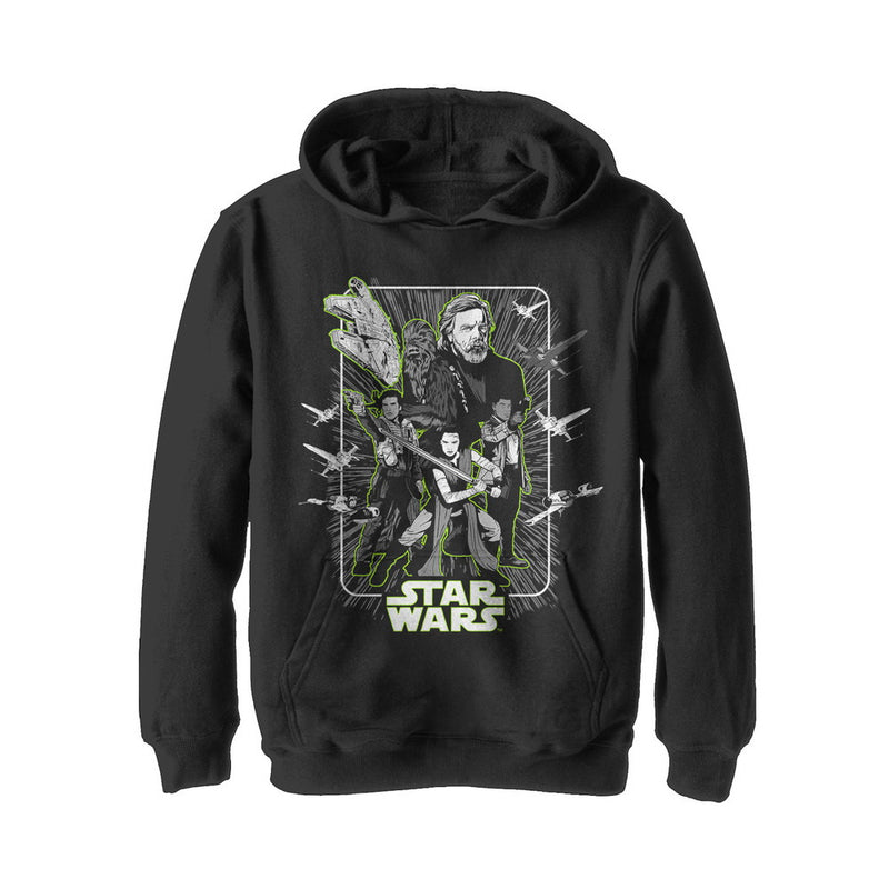 Star Wars The Last Jedi Boy's Rebel Frame  Pull Over Hoodie  Black  XL