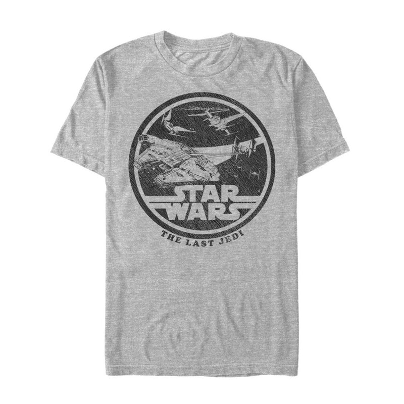 Star Wars The Last Jedi Millennium Falcon Battle Mens Graphic T Shirt