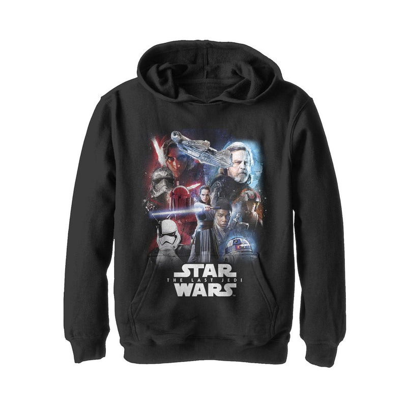 Star Wars The Last Jedi Boy's Force  Pull Over Hoodie  Black  M