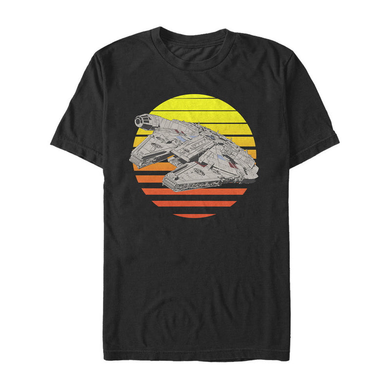 Star Wars The Last Jedi Men's Millennium Falcon Sunset  T-Shirt  Black  M