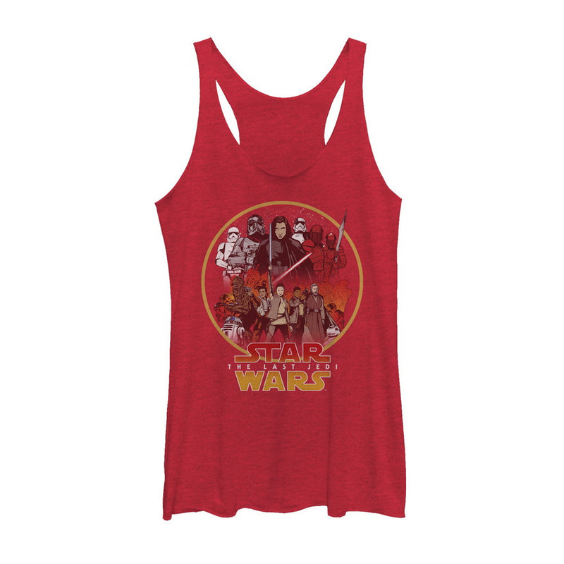 Star Wars The Last Jedi Women's Group Circle  Racerback Tank Top  Red Heather  L