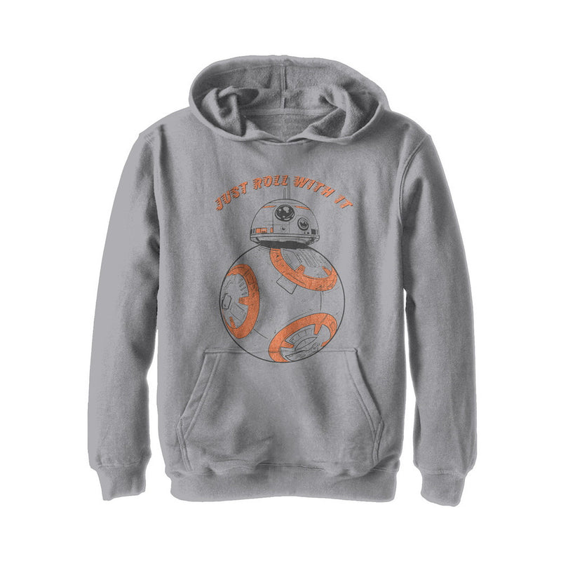 Star Wars The Last Jedi Boy's BB-8 Roll With It  Pull Over Hoodie  Athletic Heather  M