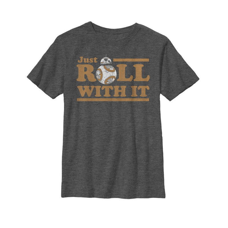 Star Wars The Last Jedi Boy's BB-8 Just Roll  T-Shirt  Charcoal Heather  S
