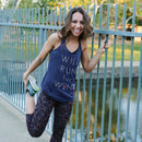 CHIN UP Women's Will Run For Wine Glass  Racerback Tank Navy Blue Heather