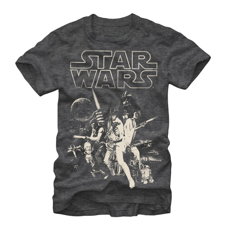 Star Wars Men's Classic Poster  T-Shirt  Charcoal Heather  4XL