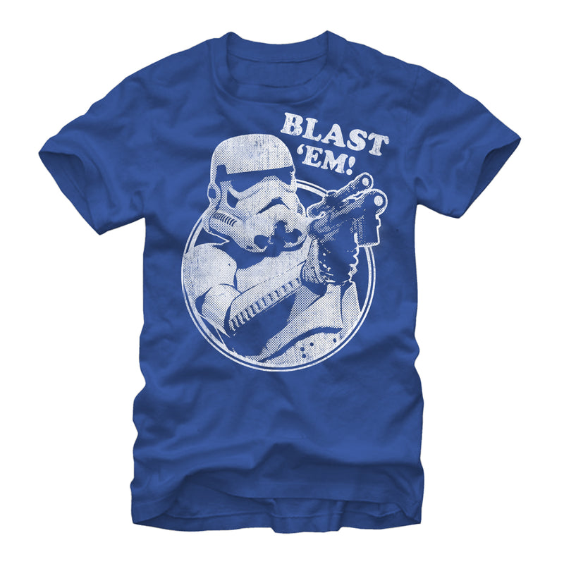 Star Wars Men's Stormtrooper Blast Em  T-Shirt  Royal  XL