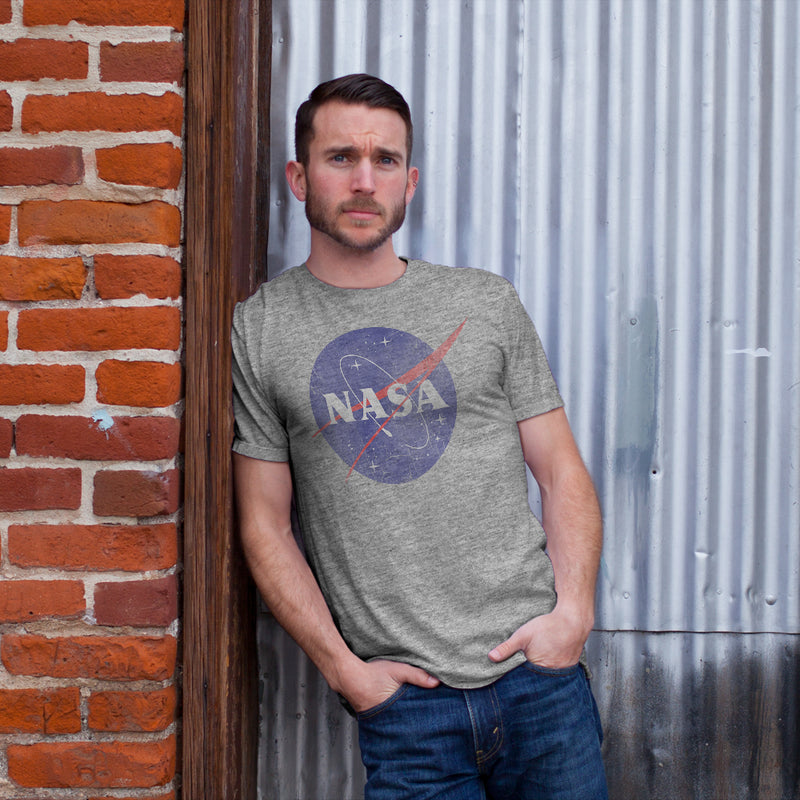 NASA Men's Logo  T Shirt Athletic Heather