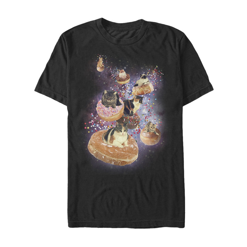 Lost Gods Men's Space Cat Doughnut Race  T-Shirt  Black  2XL