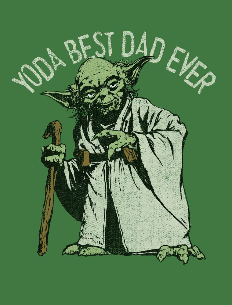 Star Wars Men's Yoda Best Dad Ever  T Shirt Military Green