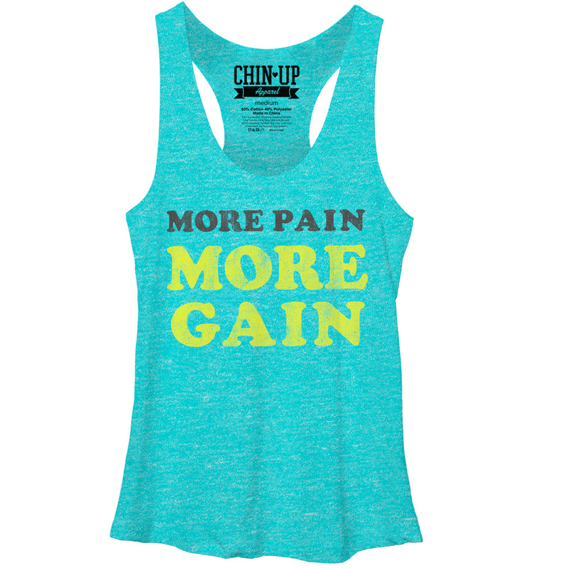 CHIN UP More Pain Womens Graphic Racerback Tank