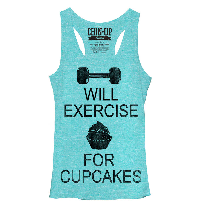 CHIN UP Women's Cupcake  Racerback Tank Top  Tahiti Blue  M