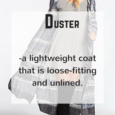 Duster - definition - blue labels boutique