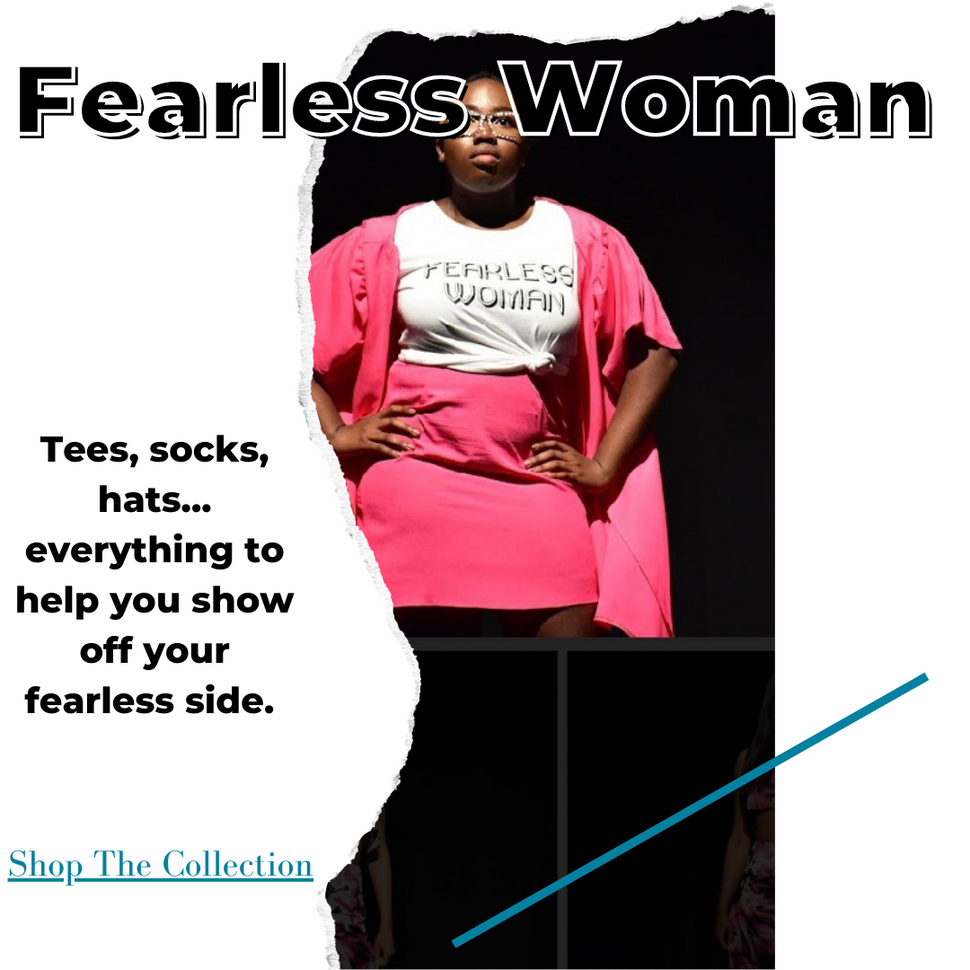 fearless woman t-shirts, socks, hats, keychain