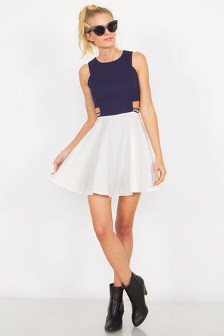 navy and white cutout dress