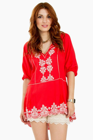 coral womens embroidered tunic