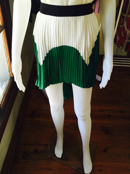 Green, black & white Pleated Skirt - Blue Labels Boutique - 1