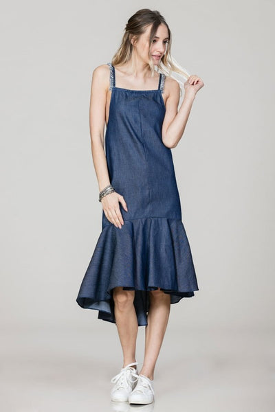 denim dress with trumpet hem and frayed straps blue labels boutique