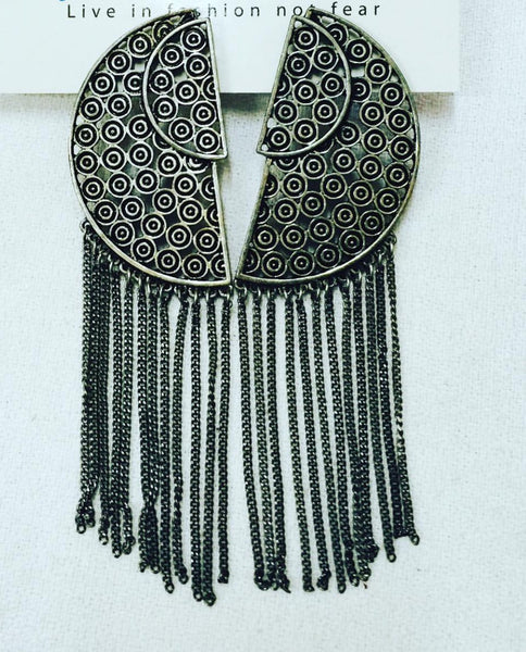 top dress boutique - Fringe Silver Earrings - Blue Labels Boutique