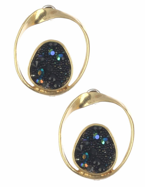 black gemstone and gold earrings