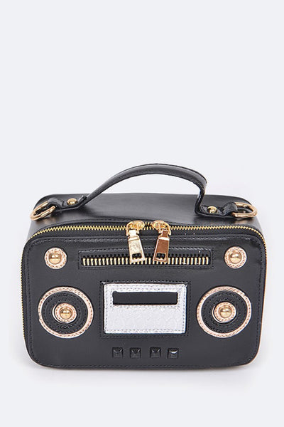 black radio inspired clutch bag blue labels boutique
