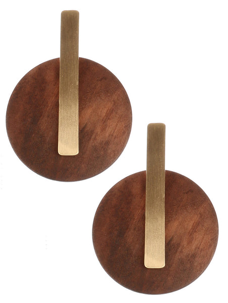 detail and wood button style earrings blue labels boutique